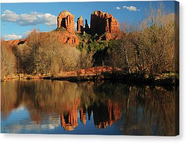 Cathedral Rock Reflections At Sunset Canvas Print by Michel Hersen