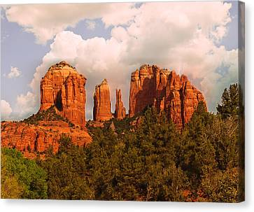 Cathedral Rock Sunset Canvas Print by Bob and Nadine Johnston