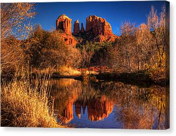 Oak Creek Canvas Print - Cathedral Rock by Tom Weisbrook