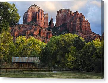 Oak Creek Canvas Print - Cathedral Rock With Fall Colors And Rustic Building by Dave Dilli