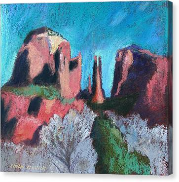 Cathedral Rock With Gray Trees Canvas Print