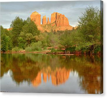 Canvas Print featuring the photograph Cathedral Rocks Reflection by Alan Vance Ley