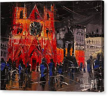 Cathedral Saint Jean-baptiste In Lyon Canvas Print by Mona Edulesco