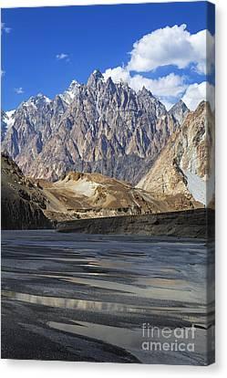 Cathedral Spires Mountain Peaks Passu Canvas Print by Robert Preston
