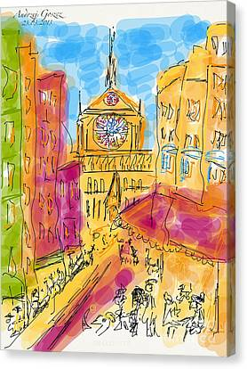 Cathedrale Notre Dame De Paris. I Love Paris - J Adore Paris . The Young Rebels Movement. Canvas Print by  Andrzej Goszcz