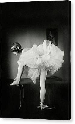 Tulle Canvas Print - Catherine Crandell Tying Her Ballet Shoes by Francis Bruguiere