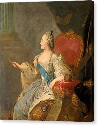 Catherine The Great, 1763 Oil On Canvas Canvas Print by Fedor Stepanovich Rokotov