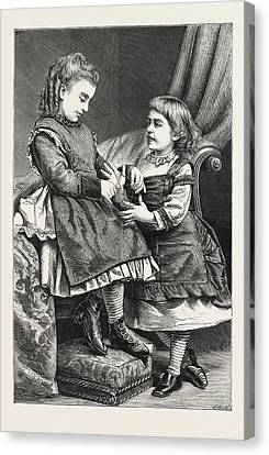 1876 Canvas Print - Cats Cradle, Engraving 1876 by English School