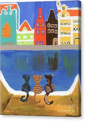 Cats Enjoying The View Canvas Print by Melissa Vijay Bharwani