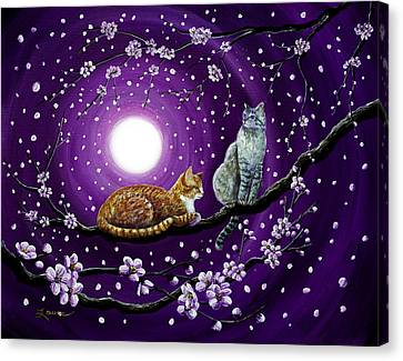 Cats In Dancing Cherry Blossoms Canvas Print by Laura Iverson
