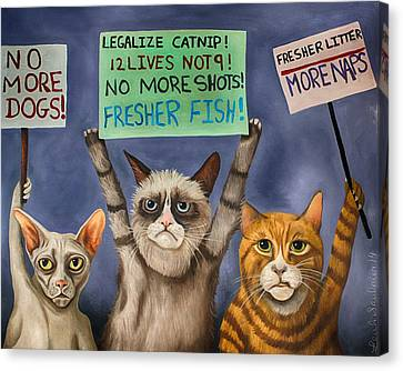 Cats On Strike Edit 3 Canvas Print by Leah Saulnier The Painting Maniac