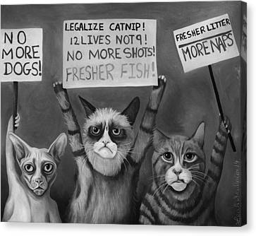 Cats On Strike Edit 5 Canvas Print by Leah Saulnier The Painting Maniac