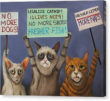 Cats On Strike Canvas Print by Leah Saulnier The Painting Maniac