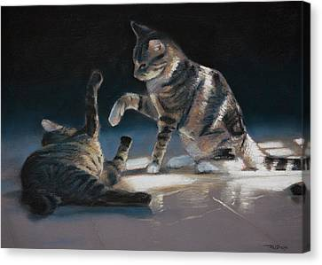 Cats Playing Canvas Print by Christopher Reid