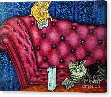 Cats Playing X Box Canvas Print by Jay  Schmetz