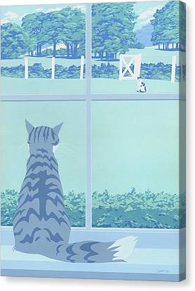 Abstract Cats Staring Stylized Retro Pop Art Nouveau 1980s Green Landscape Scene Painting Print Canvas Print by Walt Curlee
