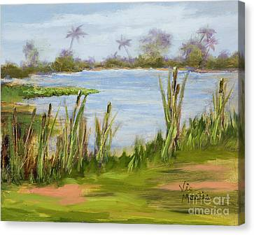 Canvas Print featuring the painting Cattails And Palms by Vic  Mastis