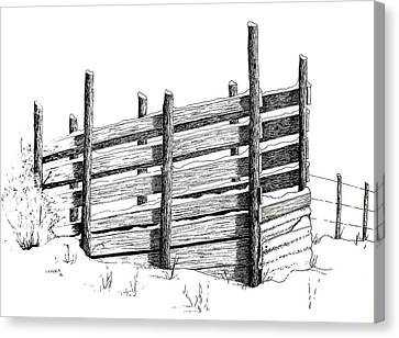 Canvas Print featuring the painting Cattle Chute Ink by Richard Faulkner
