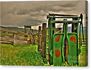 Canvas Print featuring the photograph Cattle Chute by Sam Rosen
