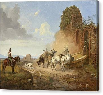 Cattle Dog Canvas Print - Cattle Watering At A Fountain On The Via Appia Antiqua by Heinrich Buerkel
