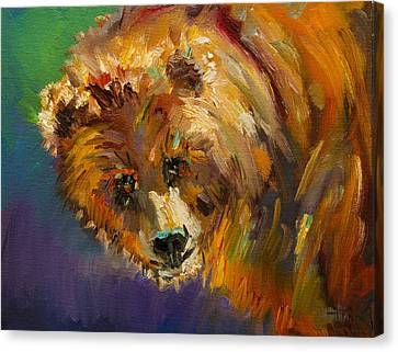 Caught In Sunlight Bear Canvas Print