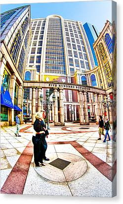 Caught In The Geometry Of Boylston Street Canvas Print by Mark E Tisdale