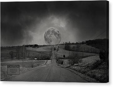 Caution Beautiful Moon Rise Ahead Canvas Print