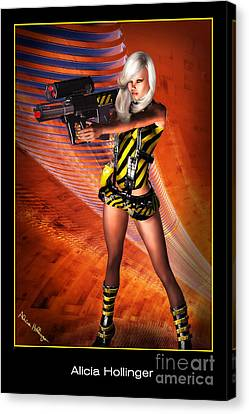 Caution Sci-fi Blonde With A Gun Canvas Print