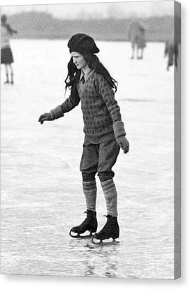 Concentration Canvas Print - Cautious And Determined Skater by Underwood Archives