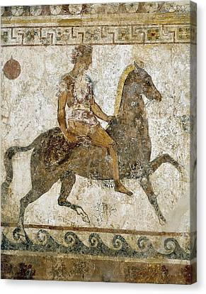 Cavalryman. Funeral Painting With Greek Canvas Print by Everett