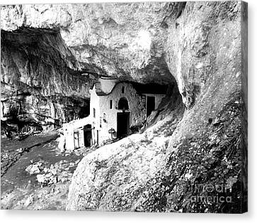 cave church on Mt Olympus Greece Canvas Print by Nina Ficur Feenan