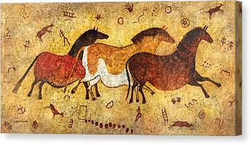 Cave Horses Canvas Print by Hailey E Herrera