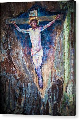 Cave Painting Of The Crucifixion Canvas Print by Roy Pedersen
