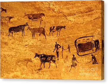 Cave Painting South Algeria Canvas Print by George Holton