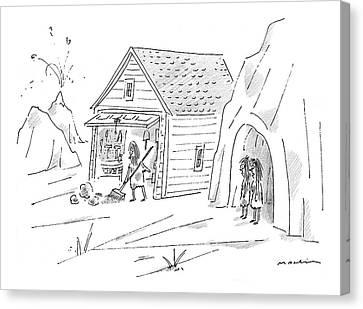 Caveman Sweeping Up His Garage Canvas Print
