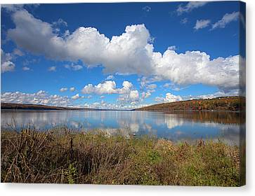 Canvas Print featuring the photograph Cayuga Lake In Colorful Fall Ithaca New York II by Paul Ge