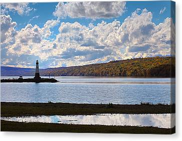 Canvas Print featuring the photograph Cayuga Lake In Colorful Fall Ithaca New York IIi by Paul Ge