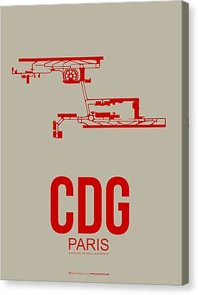 Cdg Paris Airport Poster 2 Canvas Print by Naxart Studio
