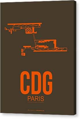 Cdg Paris Airport Poster 3 Canvas Print by Naxart Studio