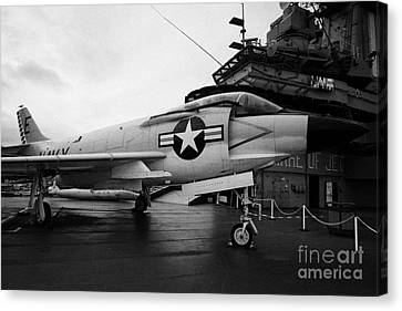 cDonnell f3 F3H2N F3B demon on the flight deck on display at the Intrepid Sea Air Space Museum Canvas Print by Joe Fox