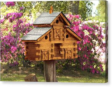 Cedar Birdhouse Canvas Print by Mike McGlothlen