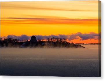 Cedar Island Morning Mist Canvas Print by Paul Wash
