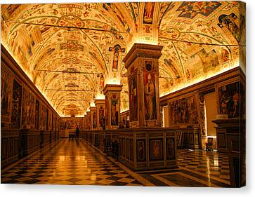 Ceiling Details Of A Museum Canvas Print by Celso Diniz
