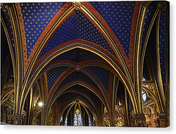 Ceiling Of The Sainte-chapelle  Paris Canvas Print by RicardMN Photography