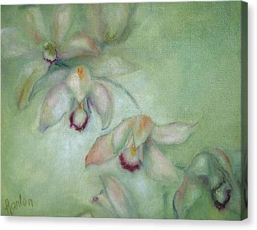 Celadon Cymbidiums Canvas Print by Susan Hanlon