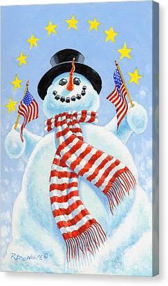 Snowman Canvas Print - Celebrate by Richard De Wolfe