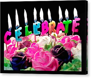 Canvas Print featuring the photograph Cake Topped With Flowers And Celebrate Candles by Vizual Studio