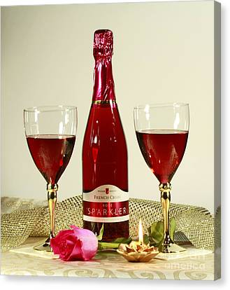 Celebrate With Sparkling Rose Wine Canvas Print by Inspired Nature Photography Fine Art Photography