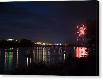 Celebrating Independence Day On The Susquehanna Canvas Print by Gene Walls