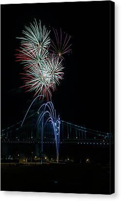 Celebration At The Ben Franklin Bridge Canvas Print by David Hahn